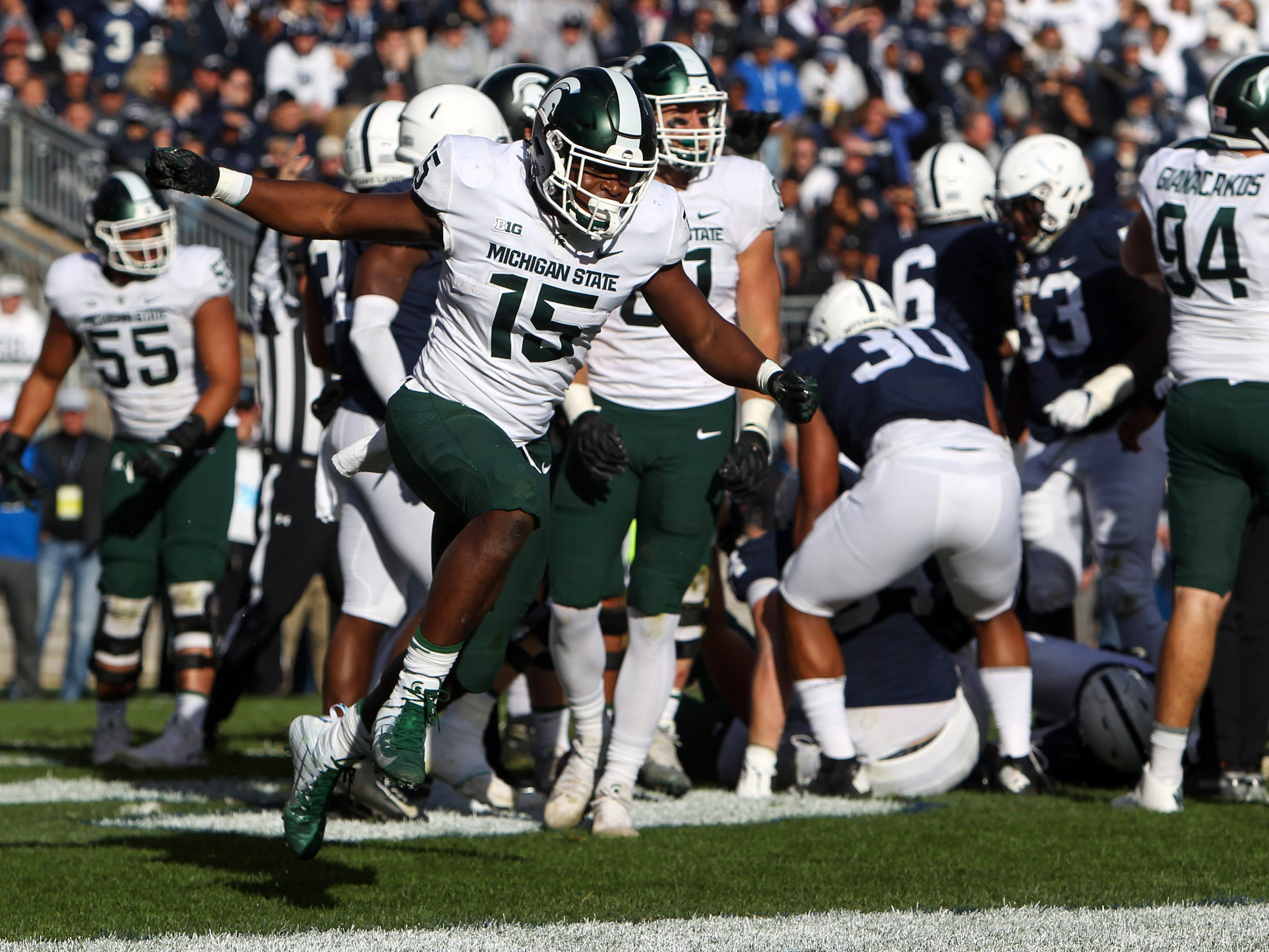 Michigan State Spartans running back La'Darius Jefferson (15) celebrates after scoring a touchdown during the second quarter against the Penn State Nittany Lions at Beaver Stadium.