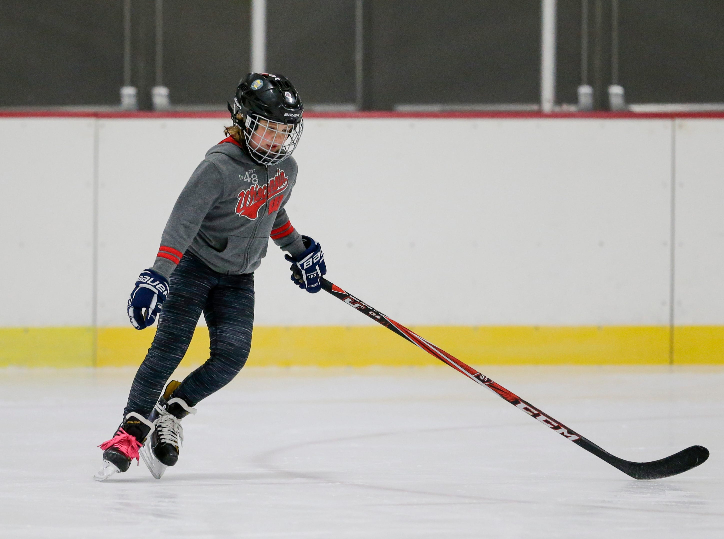 Amelia Suchomel, 9, skates during the Manitowoc County Youth Hockey Association's Girls Try Hockey event at the County Ice Center Saturday, October 13, 2018, in Manitowoc, Wis. Joshua Clark/USA TODAY NETWORK-Wisconsin