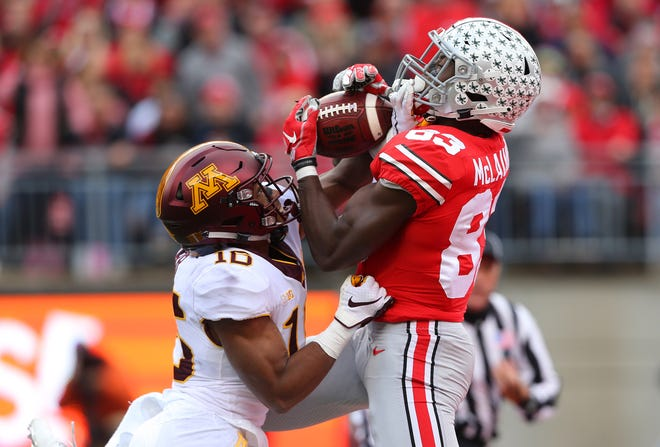 Ohio State wide receiver Terry McLaurin catches a 41-yard touchdown pass against tight coverage from Minnesota's Coney Durr.