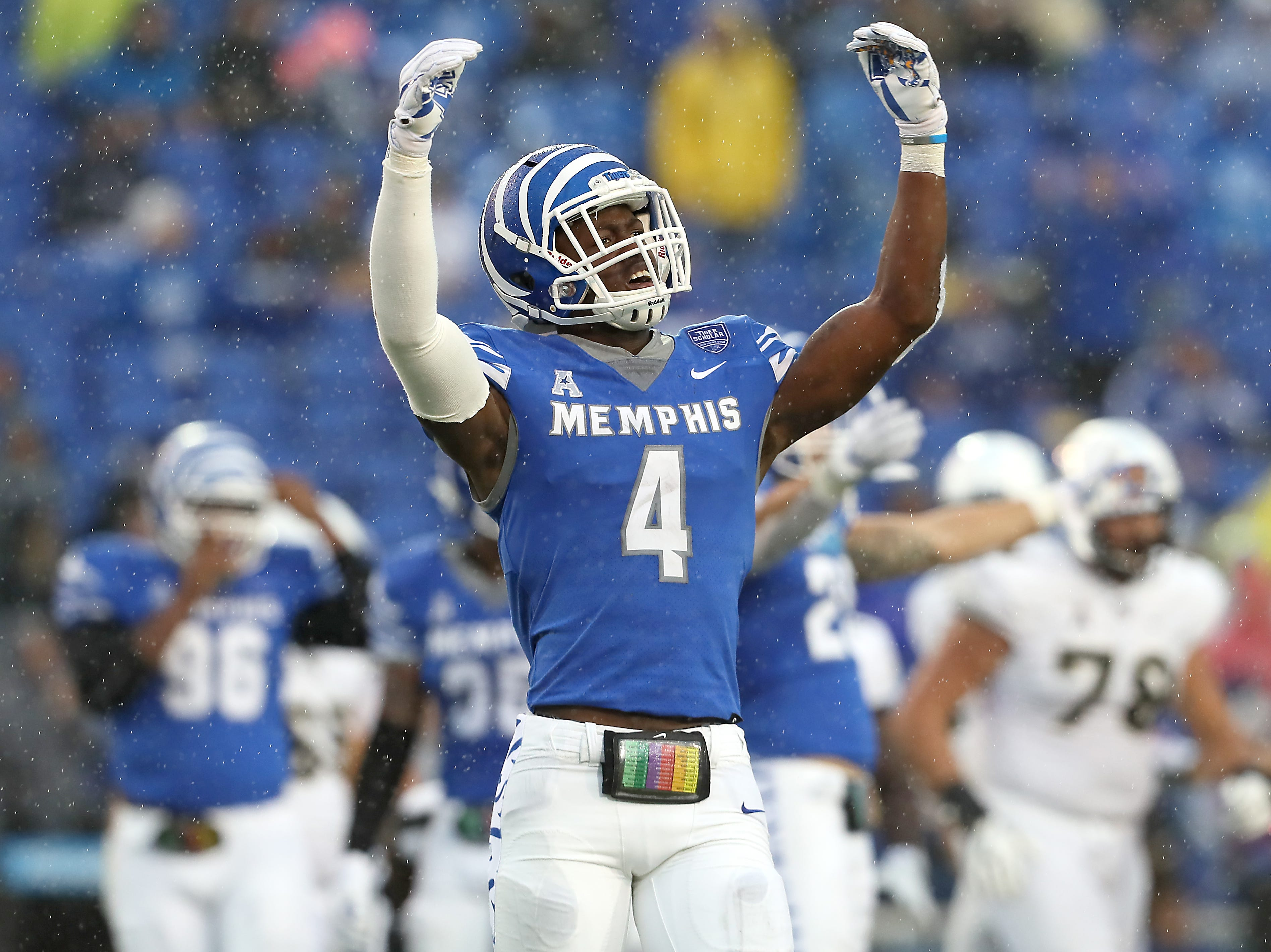 Memphis defensive back Josh Perry celebrate s a stop against UCF during their game at the Liberty Bowl in Memphis, Tenn., Saturday, October 13, 2018.