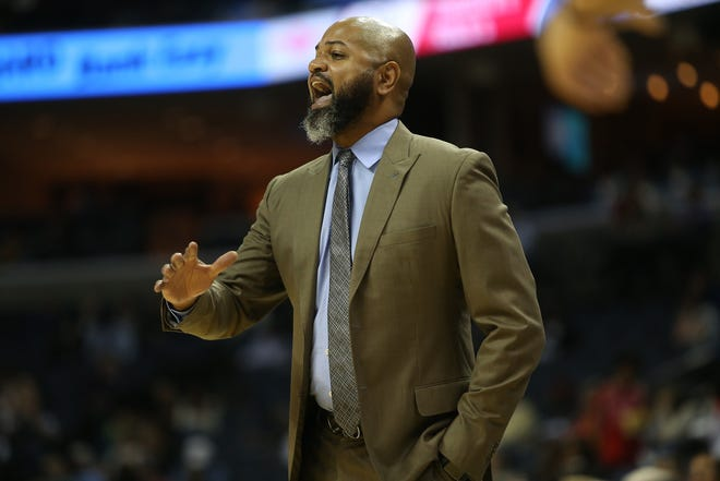 Memphis Grizzlies Head Coach J.B. Bickerstaff yells out to his team as they take on the Houston Rockets during preseason action at the FedExForum in Memphis, Tenn., Friday, October 12, 2018.