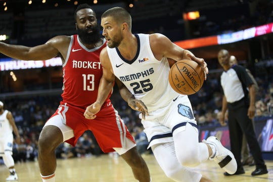Grizzlies forward Chandler Parsons drives past Rockets defender James Harden during a preseason game in October.
