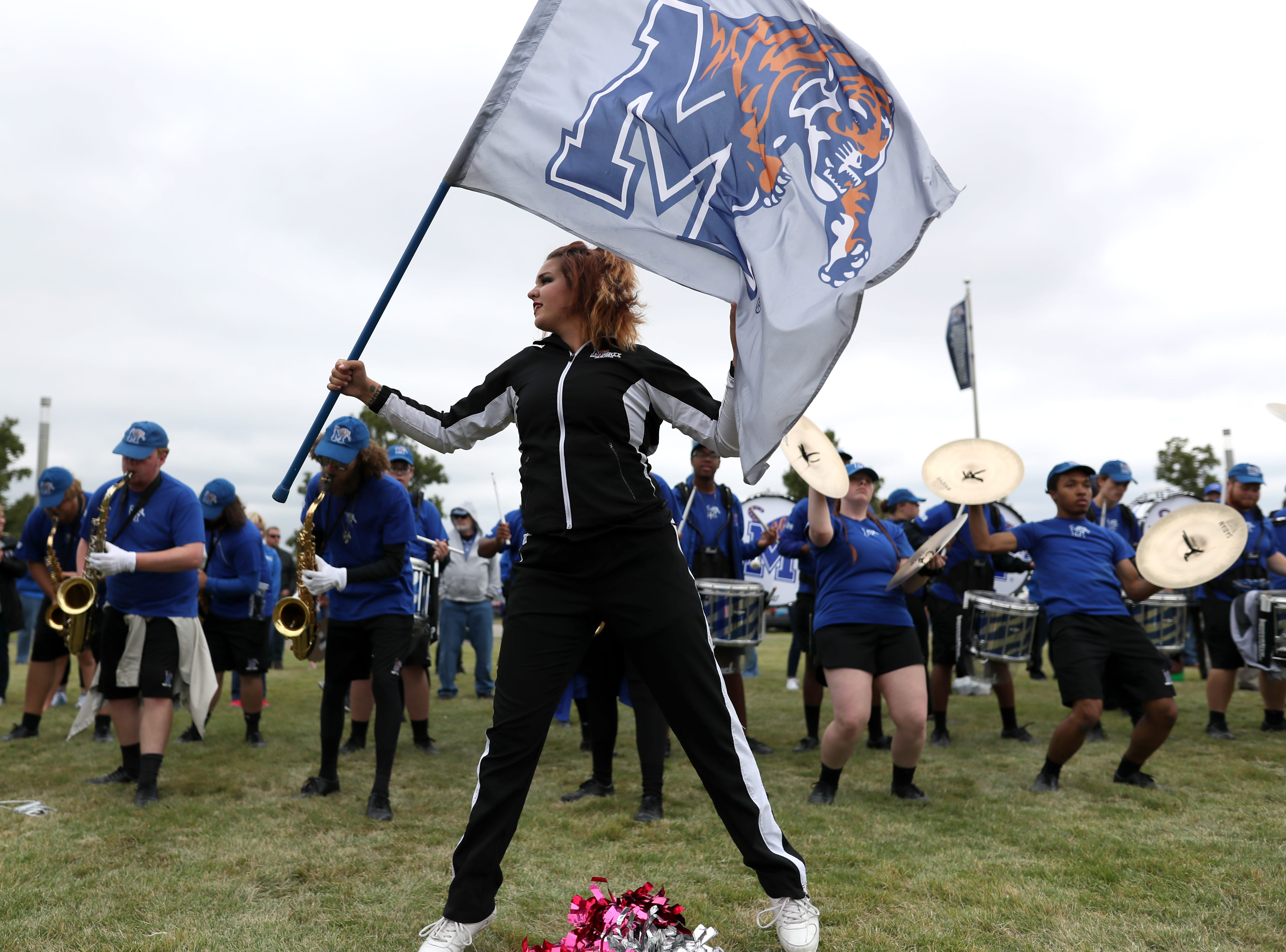 Memphis Tigers cheerleaders perform during the Tiger Walk before their game against UCF at the Liberty Bowl on Saturday, Oct. 13, 2018.