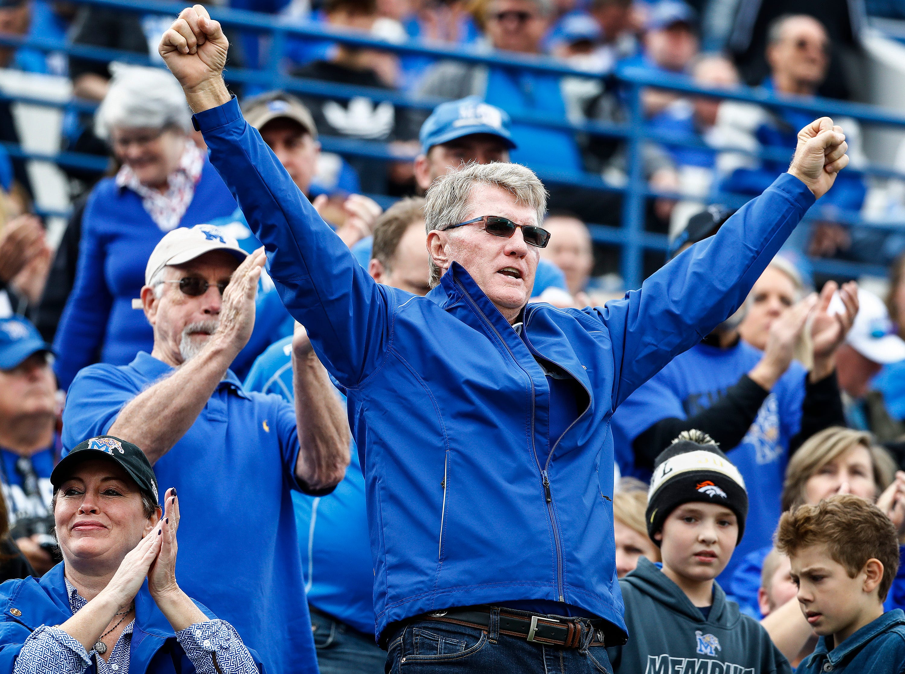 Memphis fans celebrate during action against Central Florida in Memphis, Tenn., Saturday, October 13, 2018.