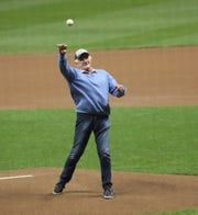 Brewers radio announcer Bob Uecker throws out the first pitch for the Brewers vs. Dodgers NLCS Game 1 at Miller Park Friday, Oct. 12, 2018.
