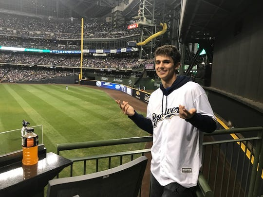 Ben Nau, 15, of Brookfield had his hand on the game tying home run by Milwaukee Brewers pitcher Brandon Woodruff, but dropped the ball.