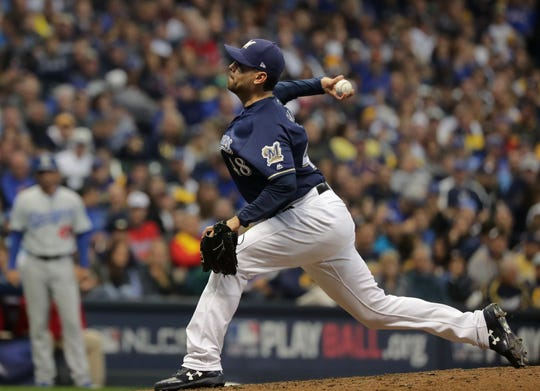 Reliever Joakim Soria struggled in the National League Championship Series against the Los Angeles Dodgers.
