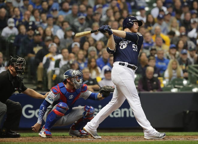 The Brewers get their first run Friday night from the most unlikeliest source as relief pitcher Brandon Woodruff belts a homer off Dodgers ace Clayton Kershaw to right-center field during the third inning to tie Game 1 of the NLCS   at 1-1.
