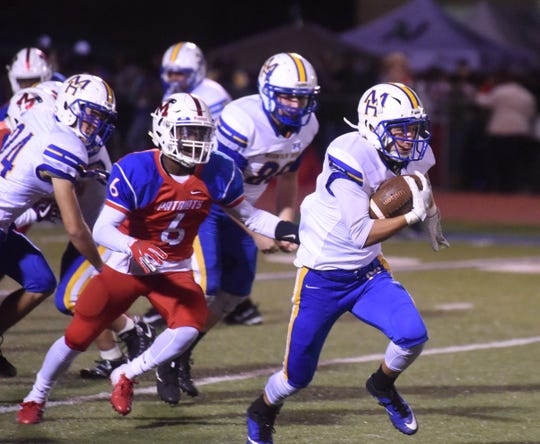 Mountain Home's Logen Walker returns a kickoff 40 yards against Marion on Friday night.