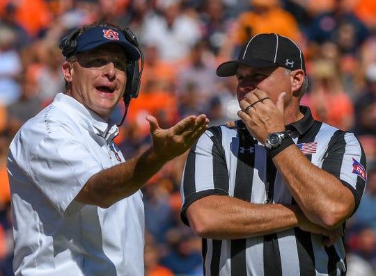 Auburn head coach Gus Malzahn disputes a call in favor of Tennessee during the second half Saturday, Oct. 13, 2018, at Jordan-Hare Stadium in Auburn, Ala.