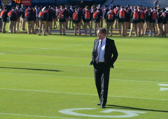 Auburn head coach Gus Malzahn walks the field after Tiger Walk before the Tennessee game Saturday, Oct. 13, 2018, at Jordan-Hare Stadium in Auburn, Ala.