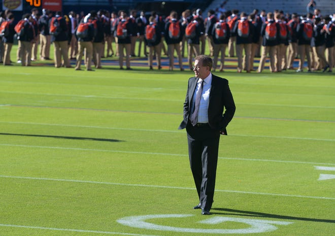 Auburn head coach Gus Malzahn walks the field after Tiger Walk before the Tennessee game Saturday, Oct. 13, 2018, at Jordan-Hare Stadium in Auburn, Ala.