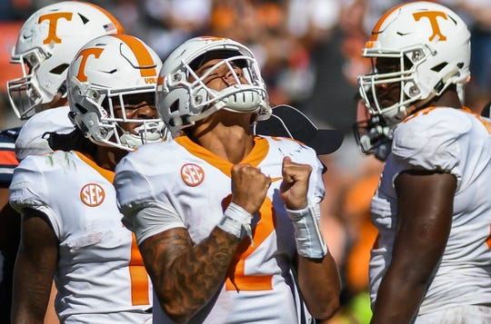 Tennessee quarterback Jarrett Guarantano (2) reacts as the clock expires in the Volunteers' 30-24 win over Auburn Saturday, Oct. 13, 2018, at Jordan-Hare Stadium in Auburn, Ala.