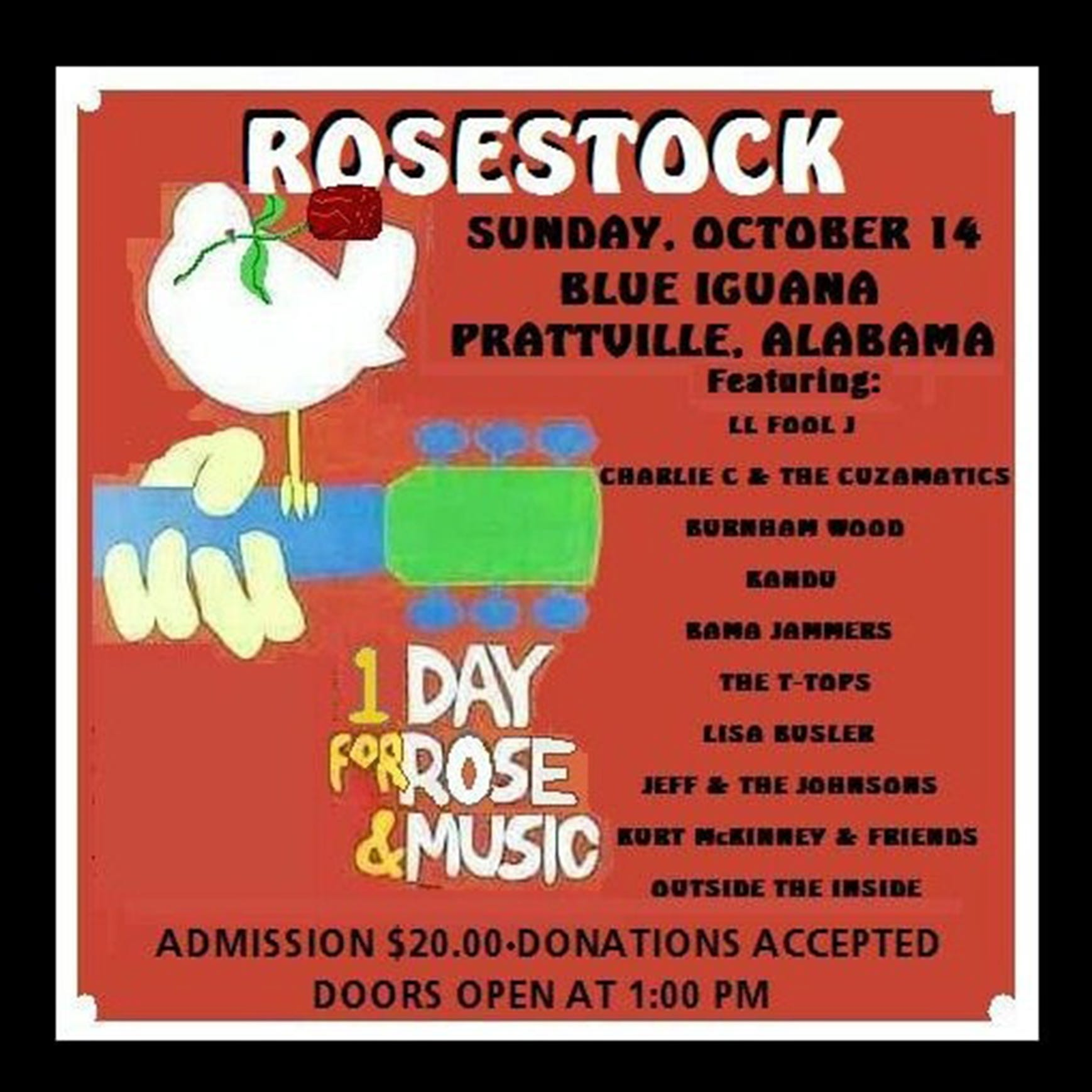 Rosestock benefit concert Sunday at Blue Iguana