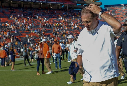 Auburn head coach Gus Malzahn leaves the field after the Tigers' 30-24 loss to Tennessee Saturday, Oct. 13, 2018, at Jordan-Hare Stadium in Auburn, Ala.