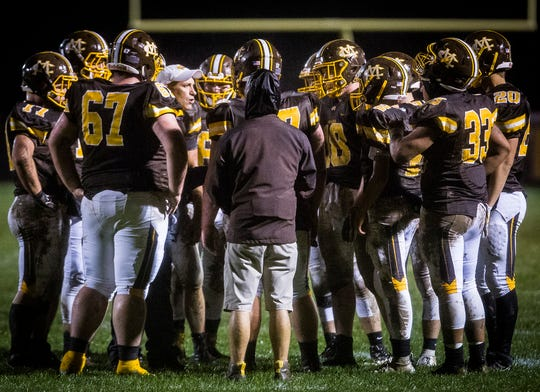 Monroe Central faces off against Shenandoah during their game at Monroe Central High School Friday, Oct. 12, 2018.
