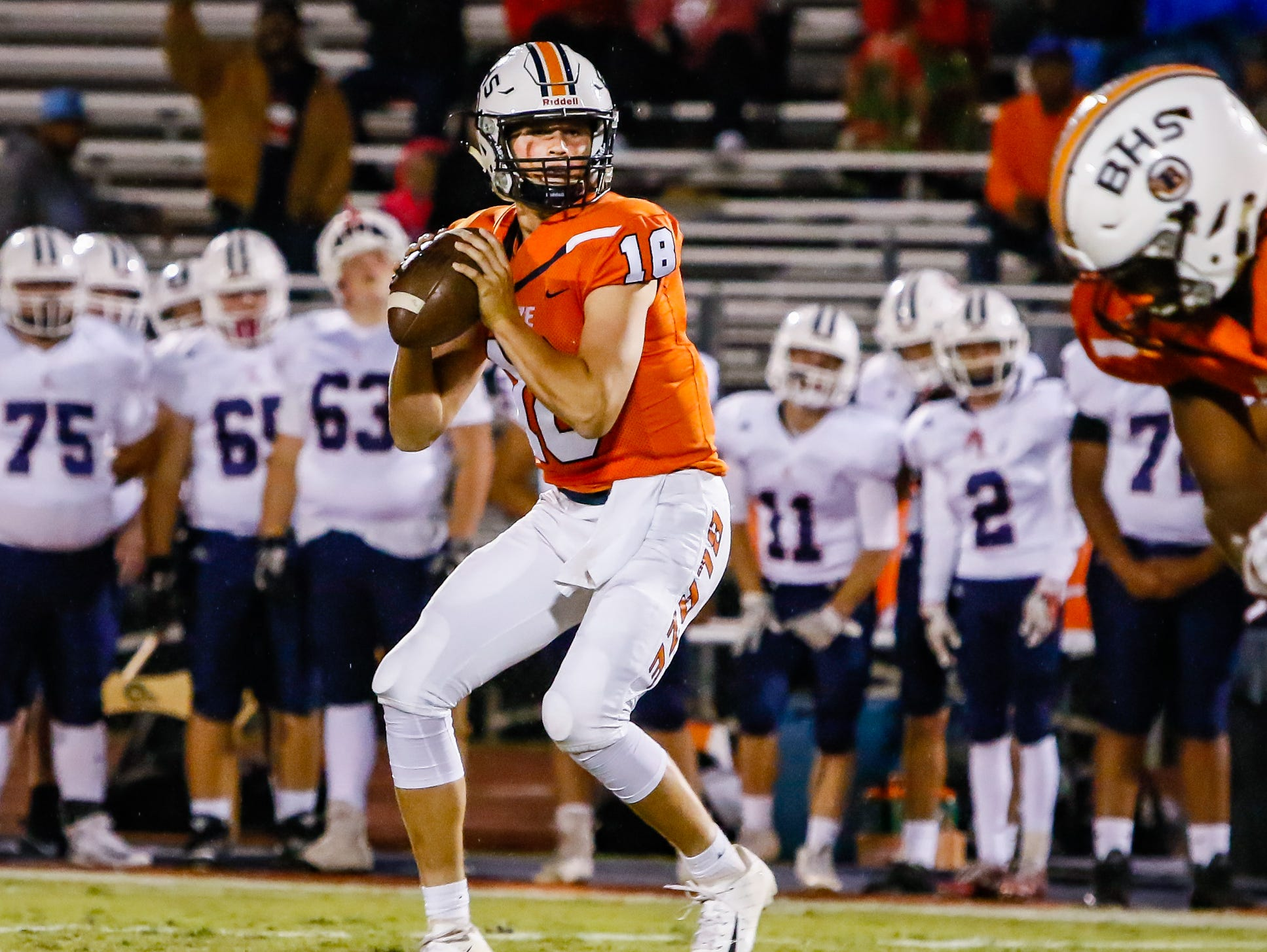 Drew Beam looks to pass in Blackman's 45-14 win over Cookeville.