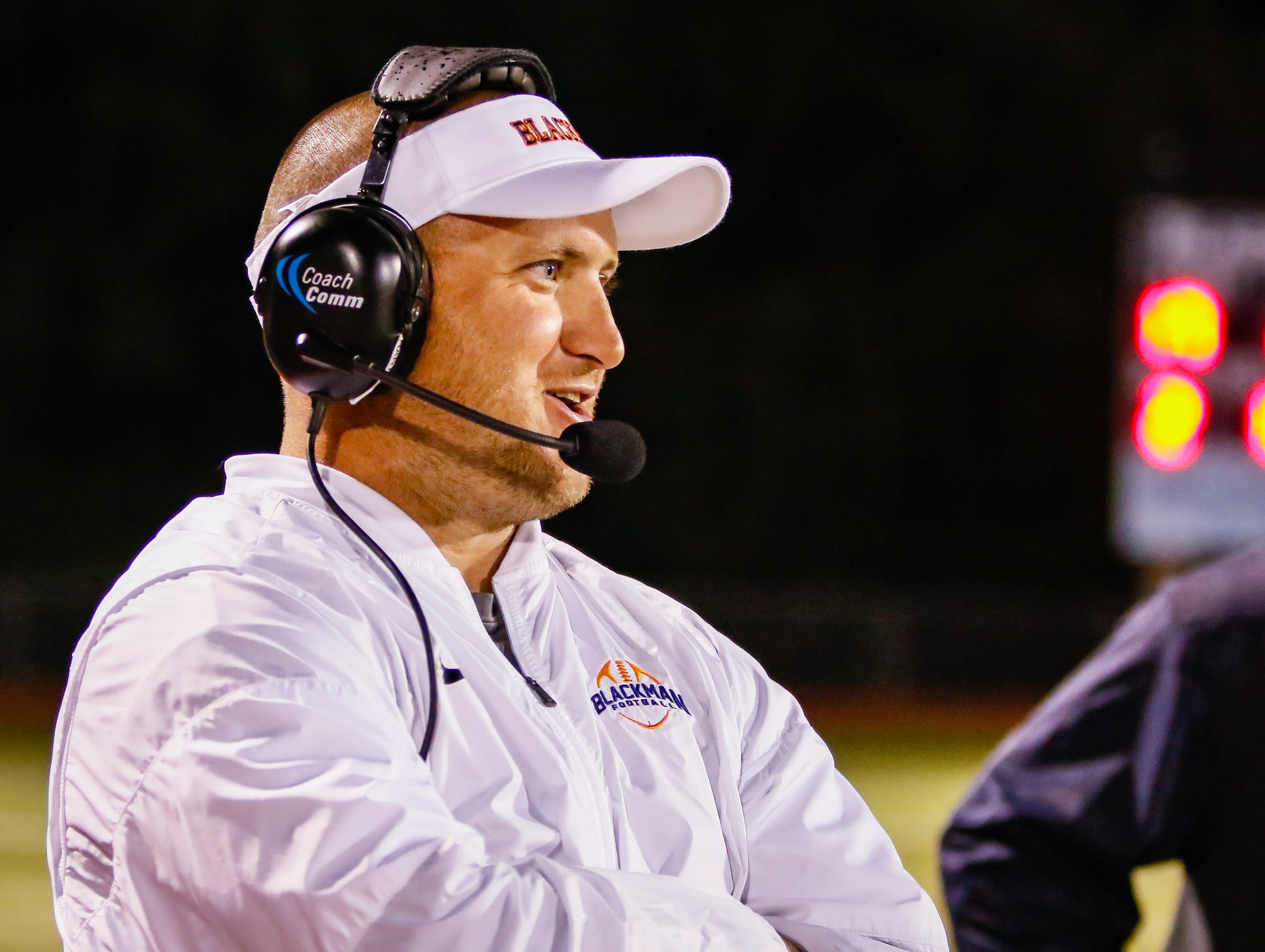 Blackman coach Kit Hartsfield watches Friday's night's 45-14 win over Cookeville.