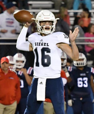 Siegel quarterback Tucker Sears fires a pass during a recent game. The Stars will reach the playoffs with a win over Cookeville during Week 11.