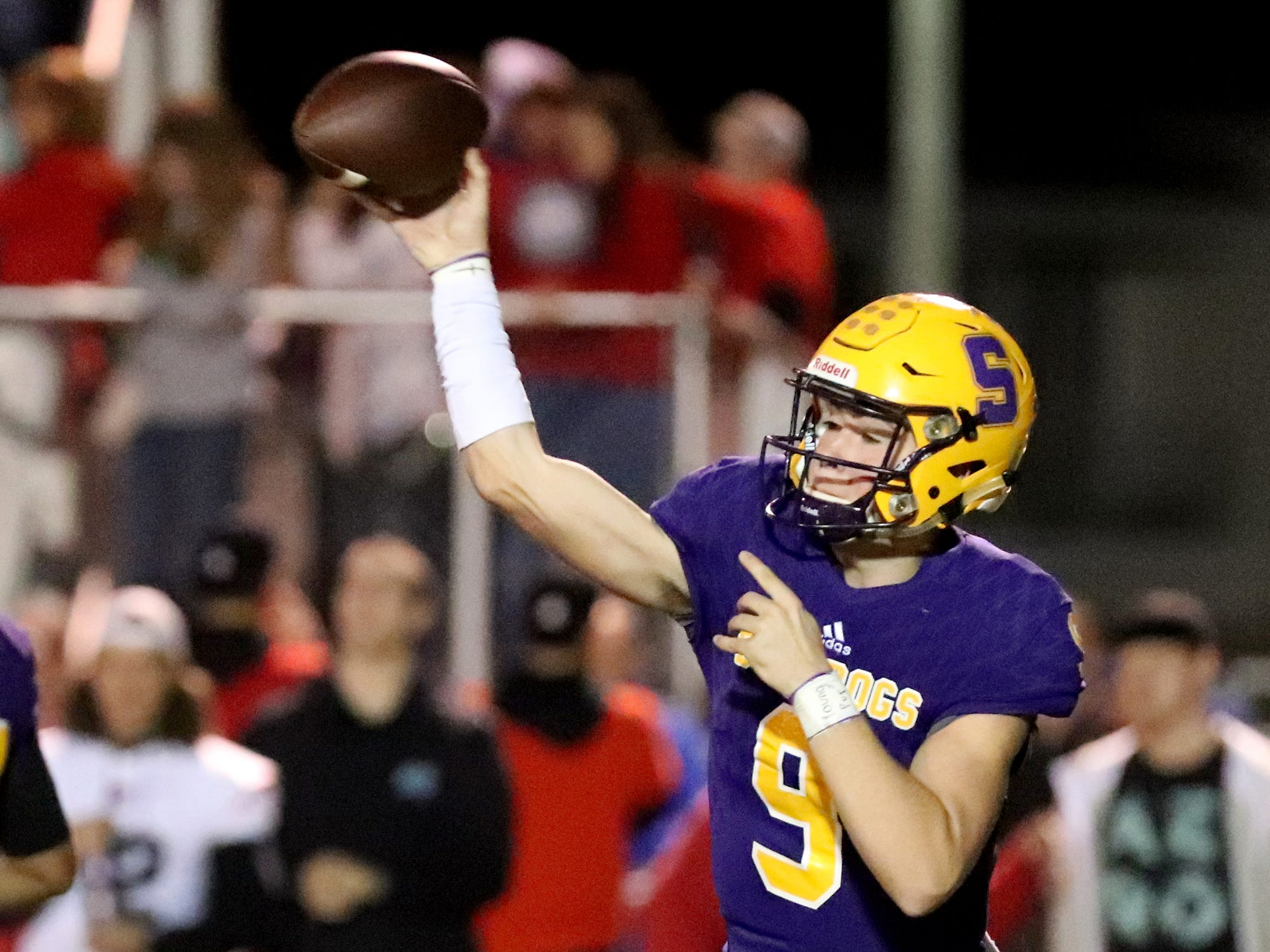 Smyrna's quarterback Alex Bannister (9) passes the football during the game against Stewarts Creek at Smyrna High School on Friday, Oct. 12, 2018.