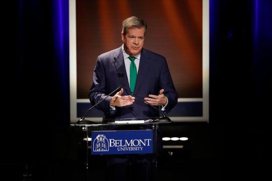 Democratic former Nashville Mayor Karl Dean speaks during the final gubernatorial debate at Belmont University Friday, Oct. 12, 2018, in Nashville, Tenn.