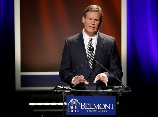 Republican businessman Bill Lee speaks during the final gubernatorial debate at Belmont University Friday, Oct. 12, 2018, in Nashville, Tenn.