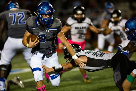Junior running back Drew Powell, shown playing against Palmetto Ridge this season, leads Barron Collier in rushing with 1,186 yards and 12 touchdowns in eight games.