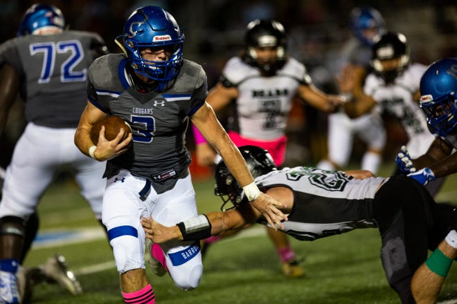 Barron Collier running back Drew Powell is second in rushing yards with 1186 yards on 154 carries and third in points scored off of 12 rushing and four receiving touchdowns in Collier County.