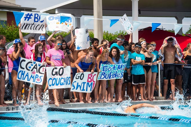 The Barron Collier swim team, seen here cheering at the Collier County Athletic Conference meet, will send 38 athletes to the Class 3A state finals in Stuart. Gulf Coast will send 35 athletes.