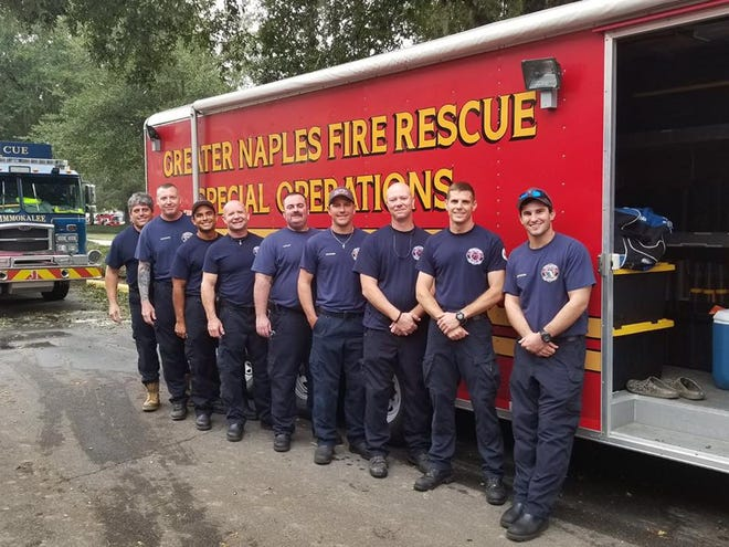 Firefighters from Greater Naples Fire Rescue went north to provide aid to areas devastated by Hurricane Michael. Driver/engineer Anthony Palermo, from left, Lt. Jason Bright, Lt. Jose Santana, driver/engineer Justin Beasley, Capt. Kevin Schock, driver/engineer Bradley Buczko, Capt. Brian Heath, driver/engineer Daniel Sawyer, firefighter Nick Taylor. Not pictured: Capt. Craig Weinbaum, firefighter Ingrid Saez.