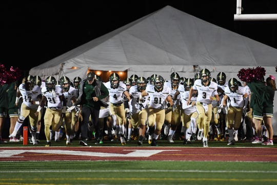 St. Joseph at Don Bosco on Friday, October 12, 2018. SJ takes the field before the start of the game.