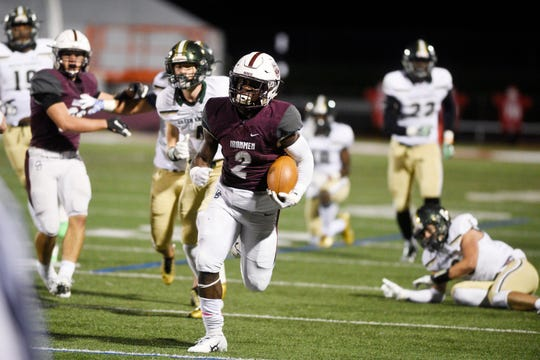 St. Joseph at Don Bosco on Friday, October 12, 2018. DB #2 Kyle Monangai in the second quarter.
