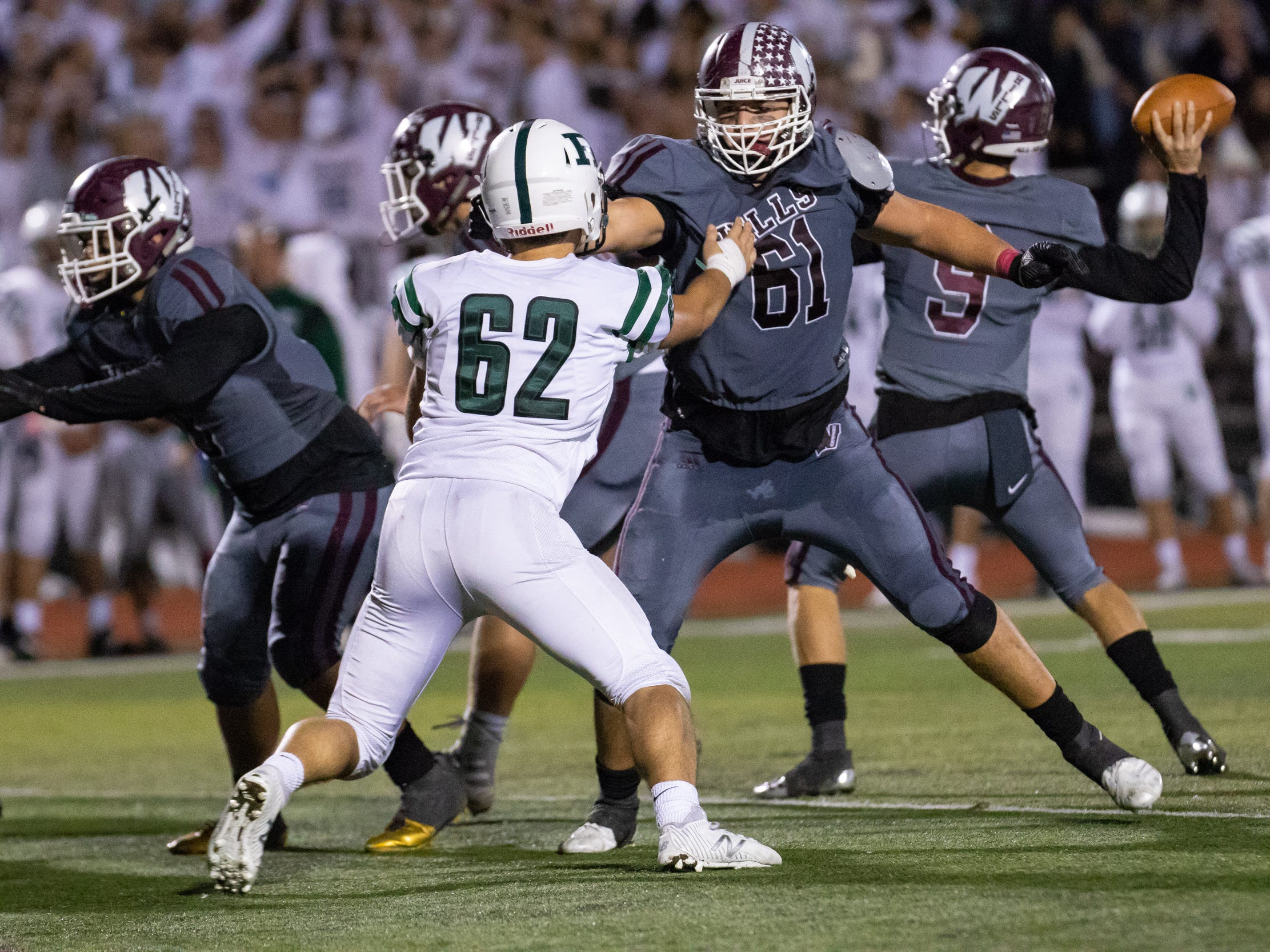 Wayne Hills lineman Joe Rondi holding back Ramapo #62 Josh D'Avanzo Friday, October 12, 2018.