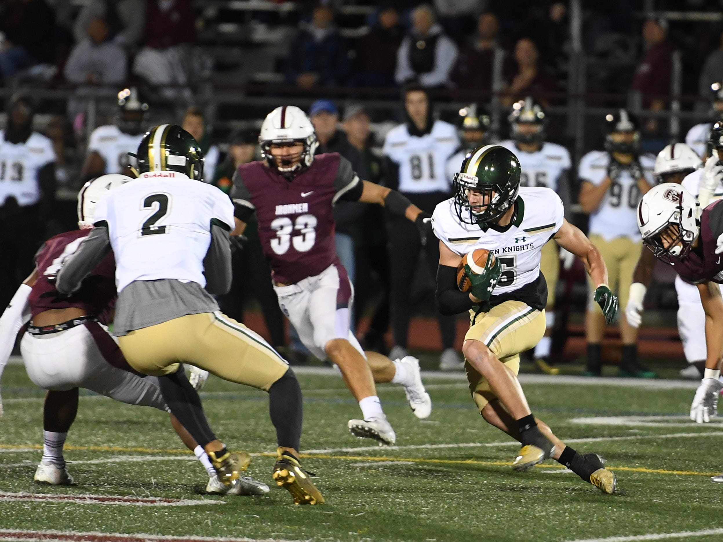 St. Joseph at Don Bosco on Friday, October 12, 2018. SJ #5 Gavin Sharkey in the first quarter.