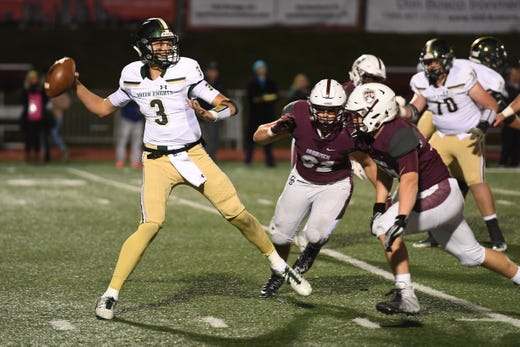 St. Joseph at Don Bosco on Friday, October 12, 2018. SJ #3 QB Michael Alaimo in the third quarter.