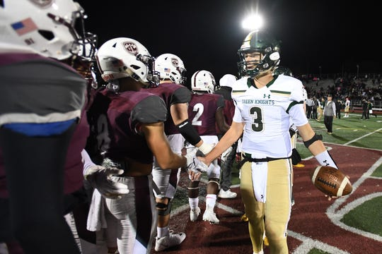 St. Joseph at Don Bosco on Friday, October 12, 2018. SJ #3 QB Michael Alaimo after SJ defeated DB.