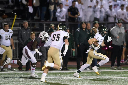 St. Joseph at Don Bosco on Friday, October 12, 2018. SJ #4 Connor Grieco after making an interception in the second quarter.