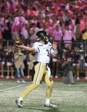 St. Joseph at Don Bosco on Friday, October 12, 2018. SJ #3 QB Michael Alaimo in the second quarter.