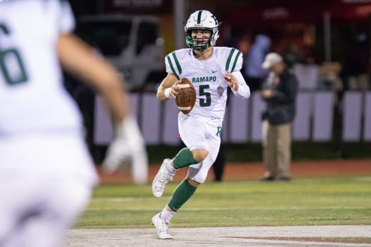 Ramapo High School Quarterback #5 AJ Wingfield. Friday, October 12, 2018.