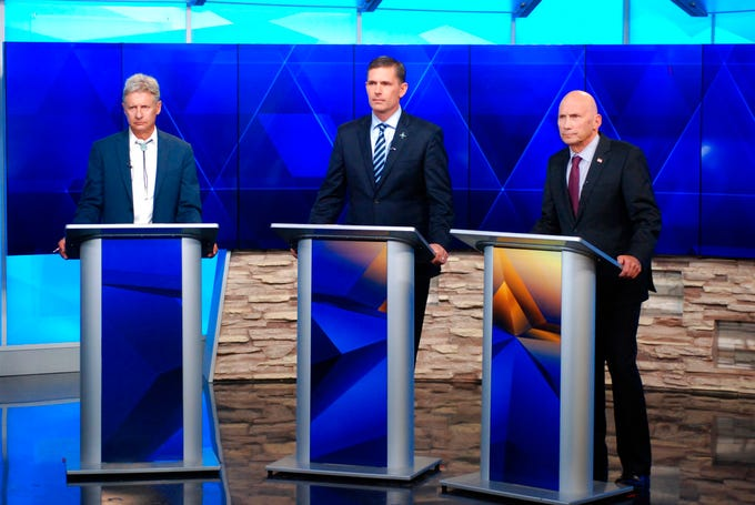 A three-way race for U.S. Senate in New Mexico had its first debate on Friday, Oct. 12, 2018, featuring Libertarian Gary Johnson, from left, incumbent Democratic Sen. Martin Heinrich and Republican Mick Rich. Republicans are defending a 51-49 majority in the Senate in fall elections.