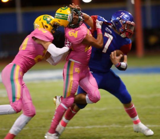 Indio High School's Aubuchon Martinez makes a run against Coachella Valley High School at Ed White Stadium on October 12, 2018. Coachella won the game.
