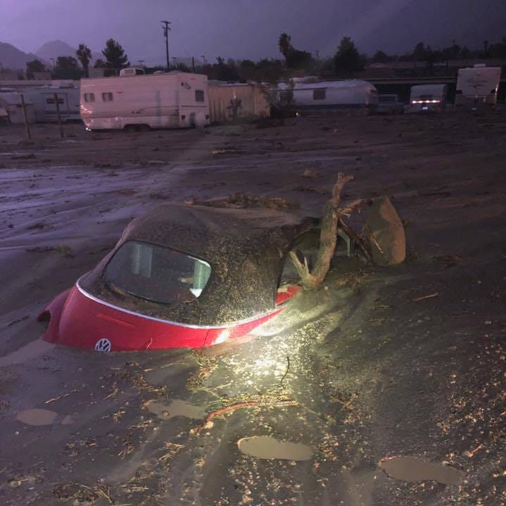 Thunderstorm drenches Palm Springs, buries part of Highway 62, closes roads in Joshua Tree National Park