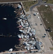 Aerial photos of Panama City and Mexico Beach show the extent of Hurricane Michael's blow to the Panhandle as the Civil Air Patrol flies over the area Saturday.