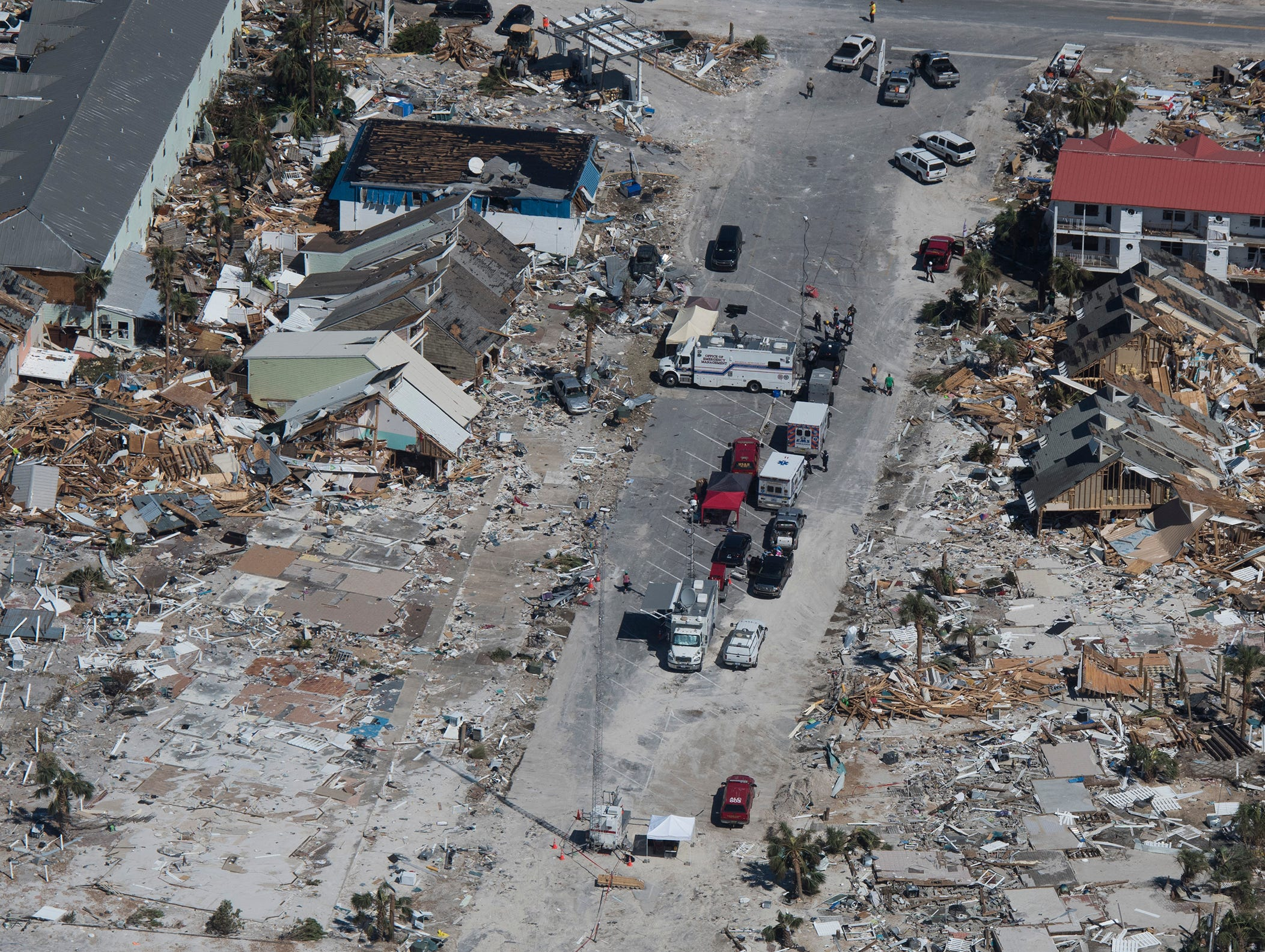 The Civil Air Patrol helps to assess the hurricane damage in Panama City and Mexico Beach areas on Saturday, Oct. 13, 2018.