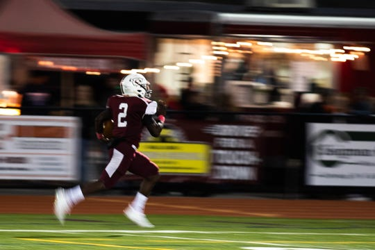 Gettysburg's Ammon Robinson (2) races down the field for a 74-yard touchdown during a football game between Gettysburg and York Suburban, Friday, Oct. 12, 2018, in Gettysburg. Gettysburg led York Suburban 33-0 at the half.