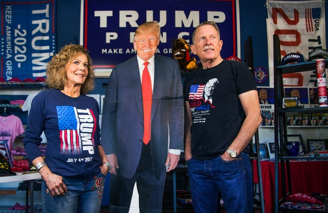 Karen MacKean and Steve Slaton are co-owners of The Trumped Store and Coffee House in Show Low, Arizona.  They sell all things Trump, Friday, September 28, 2018.