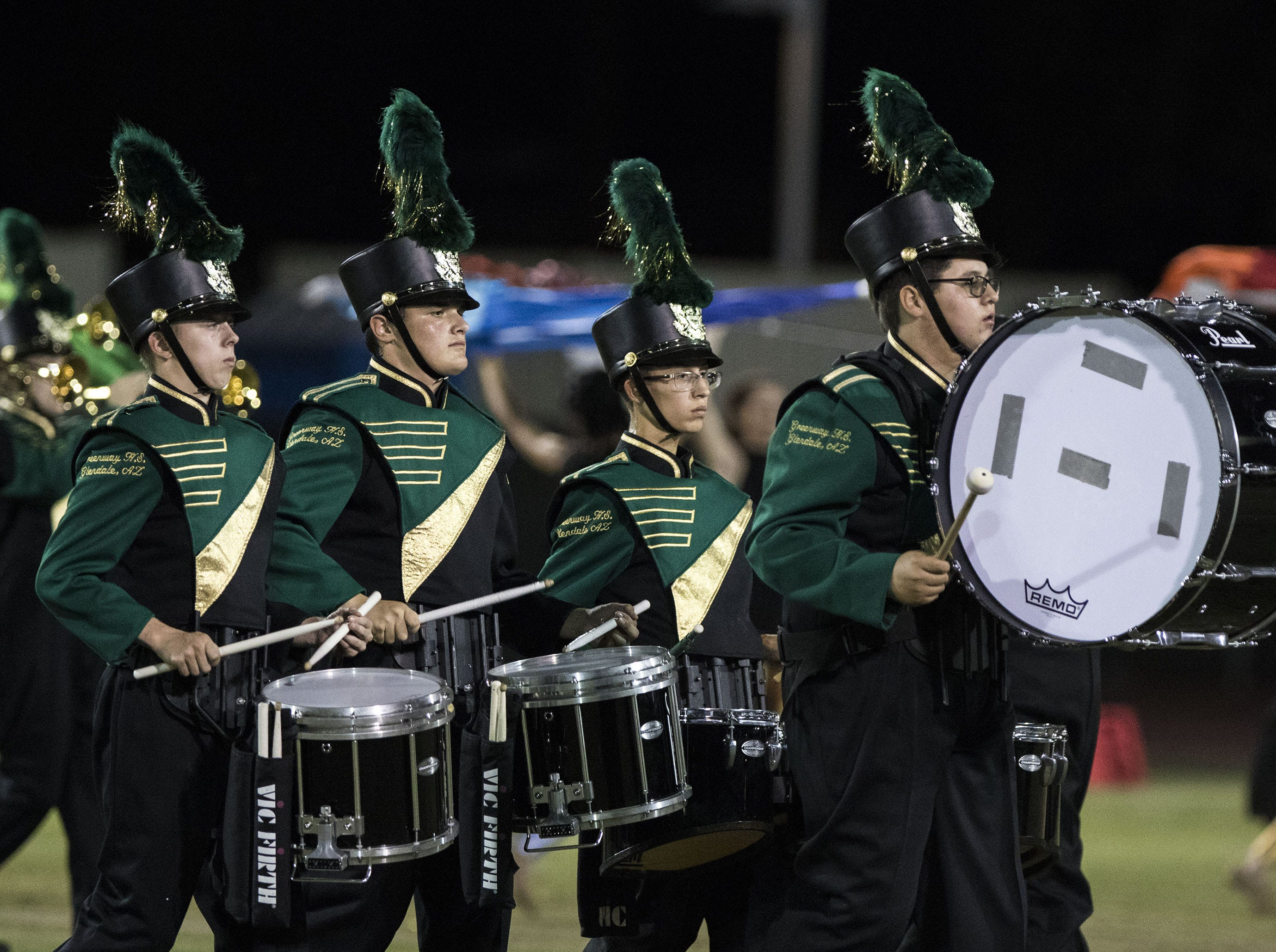 Greenway drummers perform before their game with St. Mary's at Phoenix  College in Phoenix Friday, Oct. 12, 2018. #azhsfb