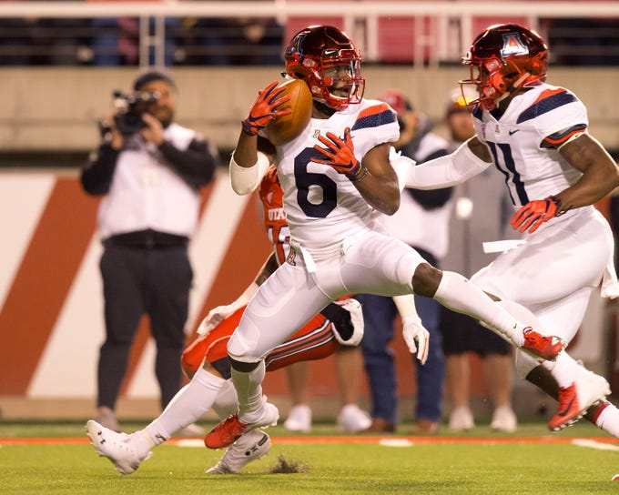 Oct 12, 2018; Salt Lake City, UT, USA; Arizona Wildcats wide receiver Shun Brown (6) receives a punt during the first half against the Utah Utes at Rice-Eccles Stadium.