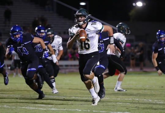 Basha's Gabe Friend (16) scrambles for a touchdown against Chandler at Chandler High School in Chandler, Ariz. on October 12, 2018.