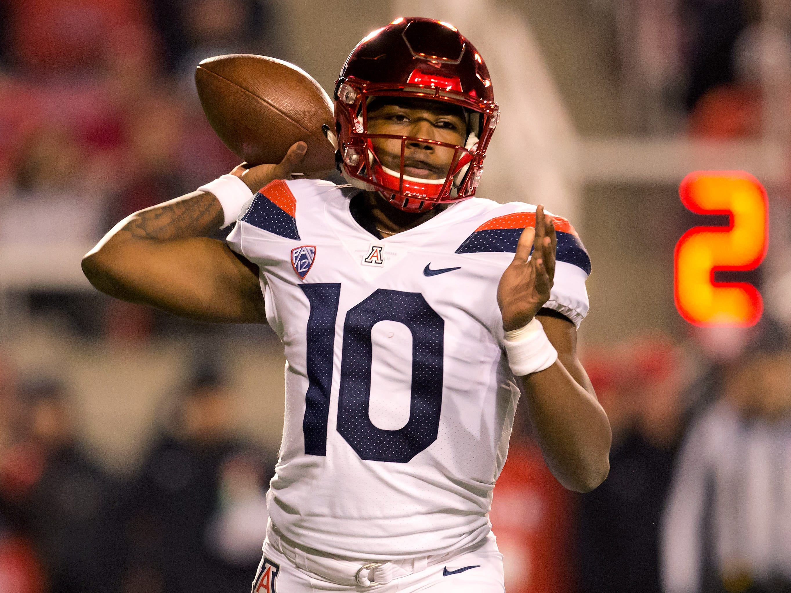 Oct 12, 2018; Salt Lake City, UT, USA; Arizona Wildcats quarterback Jamarye Joiner (10) passes the ball during the first half against the Arizona Wildcats at Rice-Eccles Stadium.
